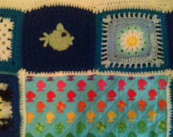 Adorable fish quilt with large crochet border.  One-of-a-kind!