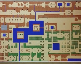 "Zelda GIGANTIC 50"" x 24"" Poster Print Legend of Zelda Classic NES High Detail World Map Nintendo Video Game RPG"