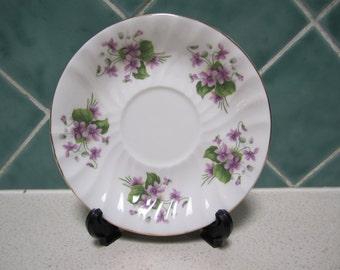 Vintage Saucer - Violets - Queen Anne - England - Bone China