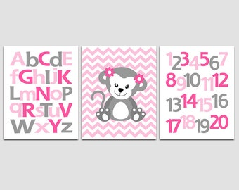 Pink and grey monkey wall art print -UNFRAMED- nursery wall art, monkey, alphabet, numbers, pink, hot pink, light pink, grey, flowers