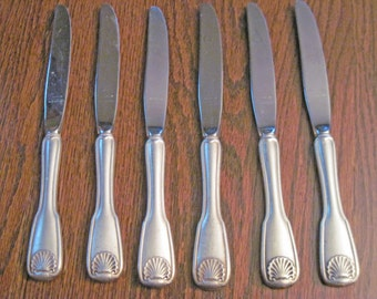 Silver Shell Pattern Reed and Barton Community Silverplate 1978 6 dinner Knives no engraving