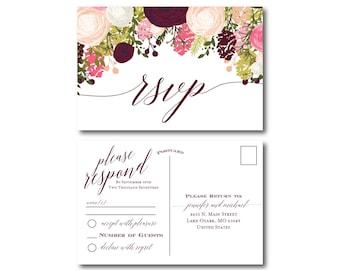 Vintage Wedding RSVP Postcard, Fall Wedding, Vintage Floral, Floral Wedding, Vintage Wedding, RSVP Postcard, Wedding Postcard, RSVP #CL113