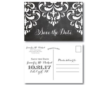 Chalkboard Wedding Save the Dates, Country Chic, Chalkboard Wedding, Rustic Wedding, Save the Date, Wedding Postcards, Save Date #CL121