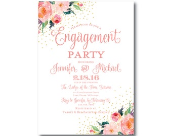 Floral Engagement Party Invitation, Floral Watercolor, Gold Glitter, Watercolor Flower, Flower Wedding, Printed Engagement Invitation #CL135