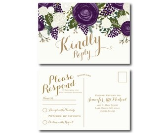 Vintage Wedding RSVP Postcard, Fall Wedding, Vintage Floral, Floral Wedding, Vintage Wedding, RSVP Postcard, Wedding Postcard, RSVP #CL258