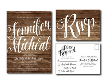Rustic Wedding Invitation - Country Chic - Fall Wedding - Wedding Invitation - Rsvp Postcard - Wedding Rsvp - Printable Invitation #CL106