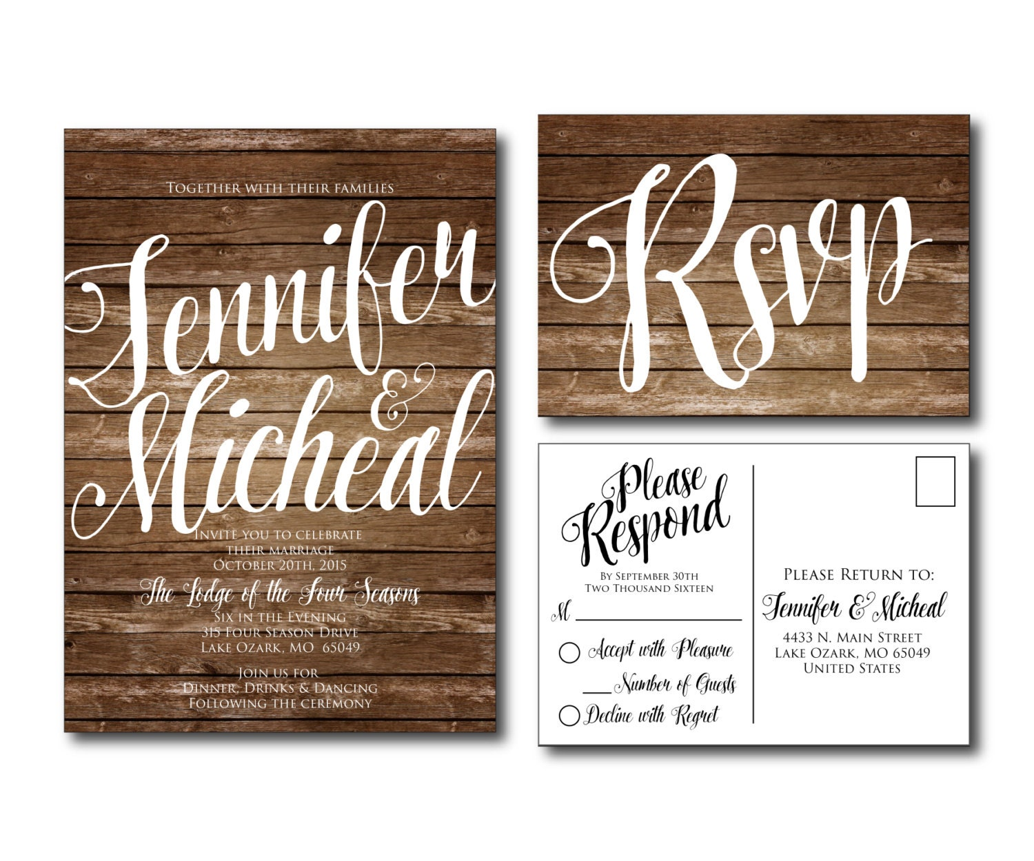 Wedding Invitation Postcard: Rustic Wedding Invitation Country Chic Fall Wedding