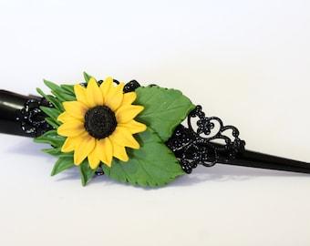 Sunflower - hair clip handmade from polymer clay, bridal hair accessory, Wedding hair clip