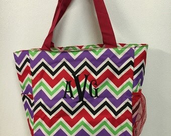 Monogrammed Multicolor Chevron Tote Bag - Embroidered Name Initials or Phrase Added Free