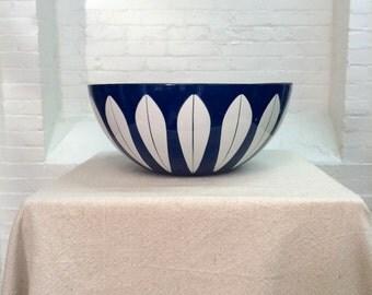 vintage blue cathrineholm bowl // lotus pattern // 11 inch large bowl // 1960s