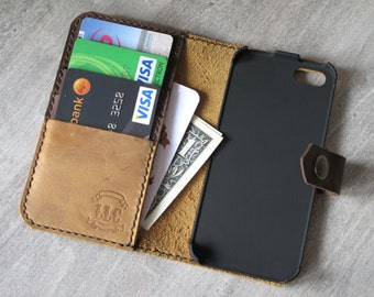 Iphone 5s case, iphone 5s leather case, iphone 5s wallet, iphone 5s holster with card case, handmade iphone 5s case