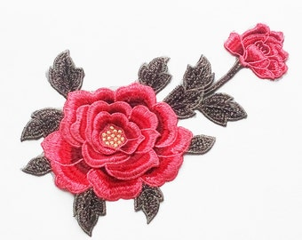 Rosa Flower Embroidery Appliques Patch Red/Blue Costumes DIY