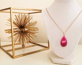 LIMITED EDITION Hot Pink Agate Druzy Geode Teardrop Pendant Long Gold Necklace