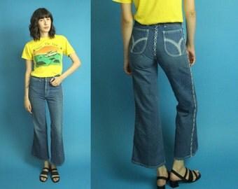"""Size 24"""" 1970s Vintage High Waist Bellbottom Jeans, Vintage 70s Bellbottom Wide Legged Jeans, High Waist Jeans, Size 24 High Waist - F14"""