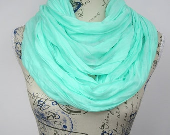 Mint Circle Scarf Solid Color Scarf Wrinkly Scarf Blue Circle Scarf Plain Infinity Scarf Fashion Loop Scarf Summer Outdoors, Summer Party