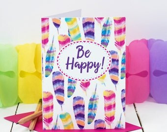 Tropical Birthday Card; 'Be Happy!'; Tropical Party Invitation; Bright Bird Feathers Card; Rio; Fiesta; Summer Party Card; GC441