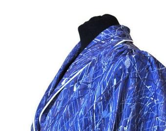 """Blue Shirtwaist Dress // Vintage Casual Day Dress// Waist 48"""""""
