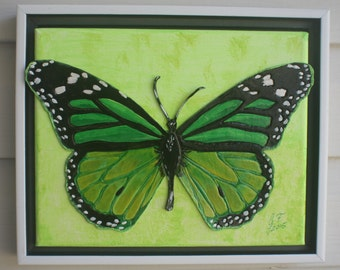 Green Butterfly MIXED MEDIA COLLAGE Embossed Leather Art Original Signed Art Modern Wall Decor Art and Collectables Framed Art Home & Living