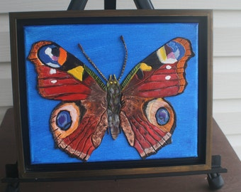Red&Blue Butterfly MIXED MEDIA COLLAGE Embossed Leather Art  Signed Original Art Modern Home Decor Art and Collectables Home and Living