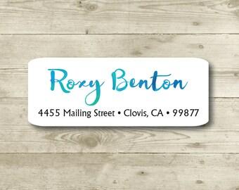Watercolor Style, Blue Tones, Custom Return Address Label, Personalized, MATTE, Personal, Wedding, Shower