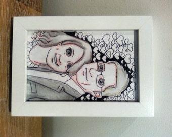 Framed Original handmade doodle art with your portrait in it - MINIDOODLE