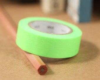 MT Washi Tape Shocking Green | Japanese Masking Tape MT Tape Solid Color Basic Color 1P (MT01P211)