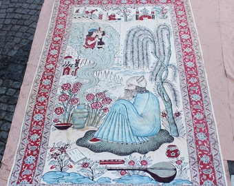 Antique original persian islamic leyla and mecnun decorated textile