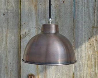 Small vintage dome light in antiqued copper finish hanging pendant lamp SDSR4