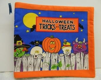 Halloween Tricks and Treats Soft Book, Fabric Book, Soft Storybook, Cloth Book, Babies Soft Book