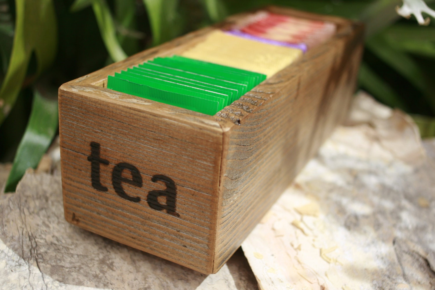 tea bag holder organizer container box reclaimed upcycled. Black Bedroom Furniture Sets. Home Design Ideas