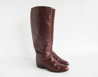 Vintage Riding Boots • Leather Riding Boots • Brown Leather Boots • Brown Riding Boots • Brown Leather Riding Boots • EU 37 • US 6.5 • UK 4
