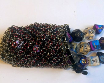 Red and black chainmaille dice bag/ LARP coin pouch