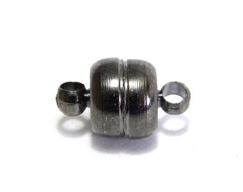 2x Magnetic Brass Button Clasp 7 mm - Gunmetal