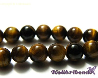 1x Strand Round Tigereye Beads 6.5mm