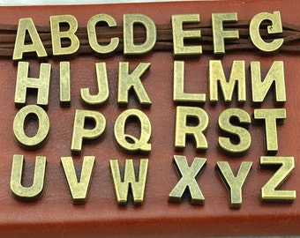 1 Sets 26 Alphabet Letter Charms Antique Bronze Tone Great for So Many Projects  18x11mm Hole 14x3.5mm Antique Bronze Letter ---G1805