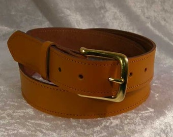 Tan leather belt with 30mm brass buckle Made to Order