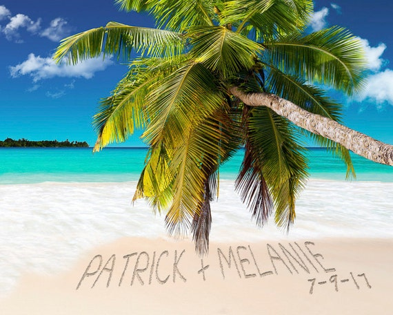 Romantic Pictures Of Tropical Beaches: Personalized Wedding Gift Romantic Tropical Beach Decor Names