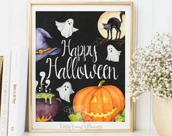 Happy Halloween print poster fall art autumn decor Fall Quotes printable Halloween decoration digital fall wall art   Fine Art Print 3-59