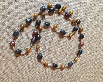 """28"""" Gold & Black Freshwater Pearl Necklace #1"""
