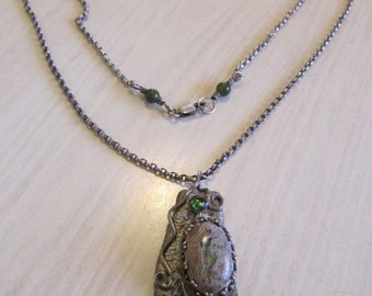 Sterling Silver and Mexican Opal Necklace