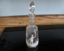 Beautiful Glass Decanter Mary Greory Hand blown with Girl Ground glass stopper Small Decanter