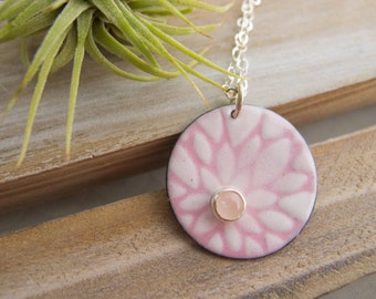 Rose Quartz Necklace ~ Pink Flower ~ Flower Charm Necklace ~ Torch Fired Enamel Jewelry ~ Sterling Silver Chain