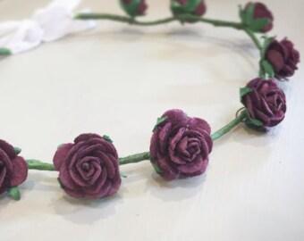 Purple Aubergine Flower Crown