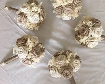 Burlap Bridesmaids Bouquet, Bridesmaids Bouquet, Burlap Bouquets, Burlap Wedding, Rustic Bouquets, Burlap Wedding Bouquets, 1 PIECE