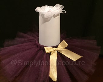 Plum Tutu with gold bow