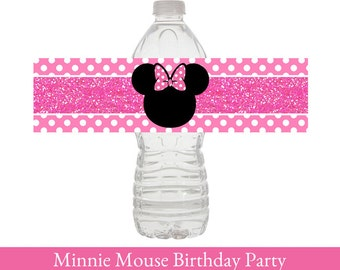 Minnie Mouse Water Bottle Wrapper, Minnie Mouse Birthday Water Bottle, Minnie Mouse Water Wrapper, Minnie Mouse Birthday Party Decorations