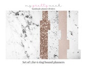Set of 5 Planner Dividers for A5, Personal, Pocket and A6 Mulberry Planners. Marble & Rose Gold