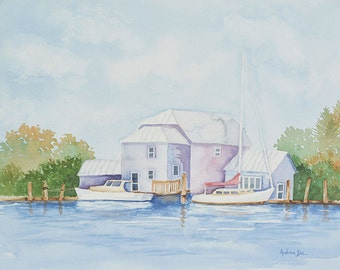 Watercolor Painting Boathouse 8x10 Print