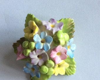 Stunning intricate china flower brooch pin