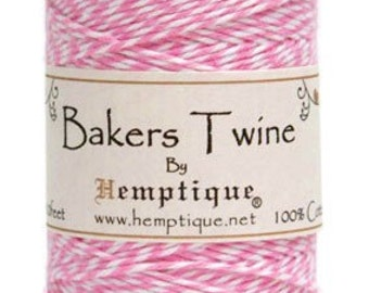 5 Meters Of Hemptique Bakers Twine In Light Pink & White, Twine, Crafting Supplies Decorations Gift Wrapping
